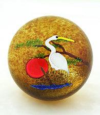 Crane Paperweight by Mayauel Ward (Art Glass Paperweight)