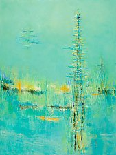 Abstract in Teal by Lela Kay (Oil Painting)