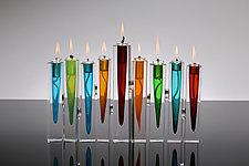 Menorah Oil Lamp by Benjamin Silver (Art Glass Menorah)