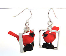 Red Cardinal Earrings by Kristin Lora (Silver Earrings)