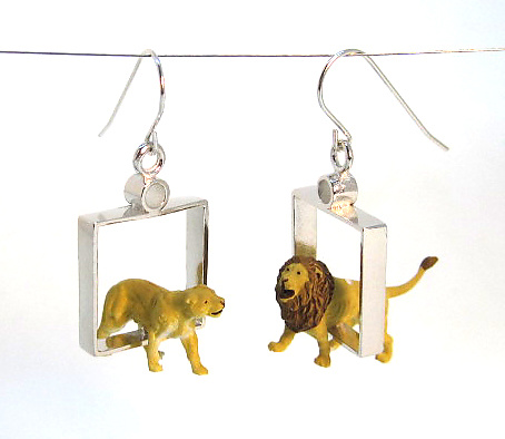 Lions in Squares Earrings