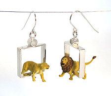 Lions in Squares Earrings by Kristin Lora (Silver Earrings)