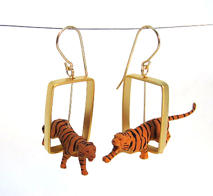 Tigers in Gold Rectangle Earrings