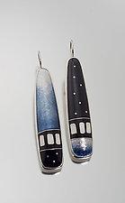 Steel Blue Cloisonne Enamel Earrings by Jan Van Diver (Enameled Earrings)