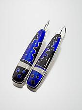 Cobalt Blue Asymmetric Cloisonne Enamel Earrings by Jan Van Diver (Enameled Earrings)