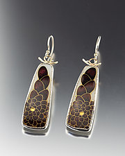 Sable Brown and Gold Cloisonne Earrings by Jan Van Diver (Enameled Earrings)