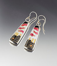 Black and White and Rose Enamel Earrings by Jan Van Diver (Enameled Earrings)