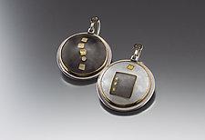 Gray and White Gold Cloisonne Earrings by Jan Van Diver (Enameled Earrings)