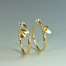Large Gold Bamboo Hoops with Faceted Stone by Marilee Nielsen (Gold & Stone Earrings)