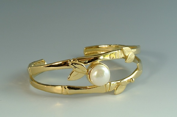 Gold Plated Bamboo Cuff with Pearl