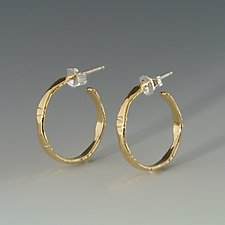 Small Bamboo Gold Hoops by Marilee Nielsen (Gold Earrings)
