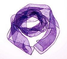 Two Tone Dot Pattern Mini Scarf in Purple by Yuh  Okano (Silk Scarf)