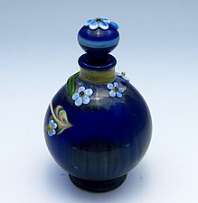 Blue Bottle with Forget-Me-Nots by Chris Pantos (Art Glass Perfume Bottle)
