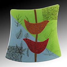 Birds and Ferns by Nina  Cambron (Art Glass Wall Sculpture)