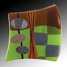 Orbs and Grid by Nina  Cambron (Art Glass Wall Sculpture)