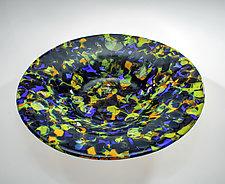 Blue and Green Lava Bowl by Varda Avnisan (Art Glass Bowl)