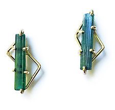 Tourmaline Crystal Earrings II by Aimee Petkus (Gold & Stone Earrings)