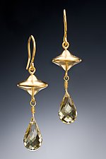 Gold Saucer Drop Earrings by Robin  Sulkes (Gold & Stone Earrings)