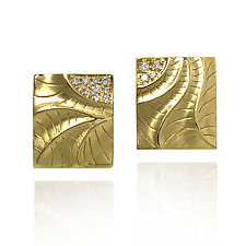 Rectangular Puzzle Earrings by Keiko Mita (Gold & Stone Earrings)