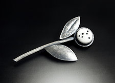 White Dotted Brooch by Grace Stokes (Polymer Clay & Silver Brooch)