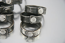 Monogrammed Napkin Rings by Nicole and Harry Hansen (Silver & Steel Napkin Rings)