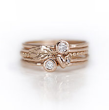 Diamond and Heart Stacking Ring Set by Melanie Casey (Gold & Stone Ring)
