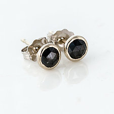 4mm Rose Cut Black Diamond Stud Earrings in 14k White Gold by Melanie Casey (Gold & Stone Earrings)
