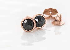 4mm Rose Cut Black Diamond Stud Earrings in 14k Rose Gold by Melanie Casey (Gold & Stone Earrings)
