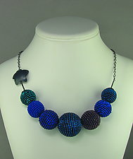 Blue Dreams Beaded Statement Necklace by Julie Long Gallegos (Beaded Necklace)
