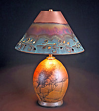 Horsehair Accent Lamp with Copper Shade by David Gordon (Ceramic Table Lamp)
