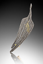 Feather Brooch by Victoria Moore (Gold, Steel & Stone Brooch)