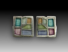 Mosaic Stud Earrings No. 196 by Carly Wright (Enameled Earrings)