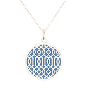 Blue Symi Silver Enamel Pendant by Karen and James Moustafellos (Enameled Necklace)