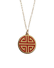 Red Guilin Gold Enamel Pendant by Karen and James Moustafellos (Enameled Necklace)