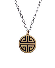 Navy Guilin Gold Enamel Pendant by Karen and James Moustafellos (Enameled Necklace)