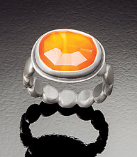 Rose Cut Carnelian Ring with Large Dot Band by Ananda Khalsa (Silver & Stone Ring)