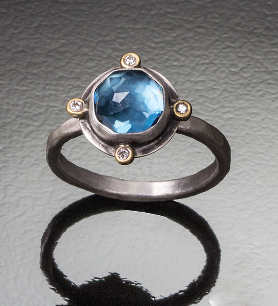 Round London Blue Topaz Ring with Four Diamond Dots