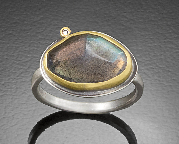 Rose Cut Labradorite Ring with Diamond Dot