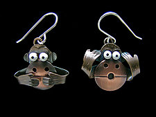 No Evil Earrings by Lisa and Scott  Cylinder (Metal Earrings)