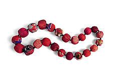 Red Silk Kantha Necklace by Mieko Mintz  (Silk Necklace)