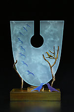 Through the Keyhole in Ice Blue by Georgia Pozycinski and Joseph Pozycinski (Art Glass & Bronze Sculpture)