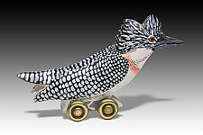 Crested Kingfisher by Dona Dalton (Wood Sculpture)