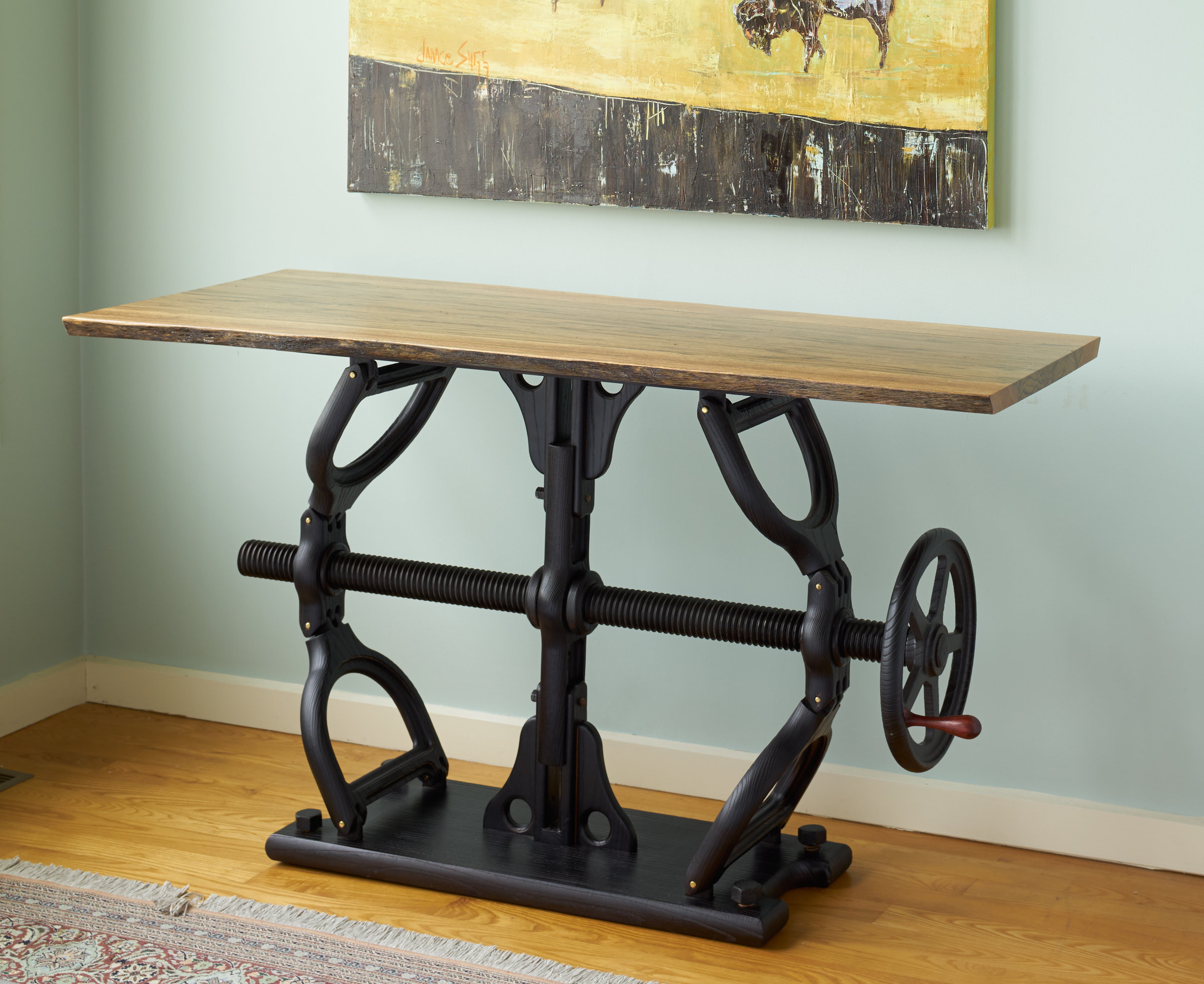 Crank table by james pearce wood console table artful home - Table console ancienne ...