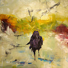 Raven, Soaking Up The Sun by Janice Sugg (Oil Painting)