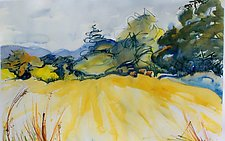 Denver Vallery Field with Hay Bales by Alix Travis (Watercolor Painting)