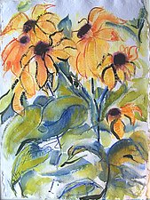 Sunflowers, 2 by Alix Travis (Watercolor Painting)