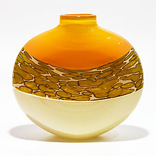 Spotted Banded Flat Vase in Salmon and Vanilla with Pumpkin Spots by Michael Trimpol and Monique LaJeunesse (Art Glass Vase)