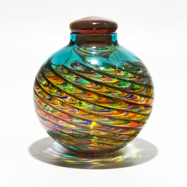 Optic Rib Lidded Urn in Candy with Salmon