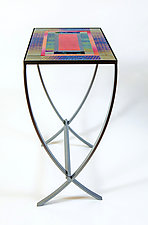 Red Art Glass Table by Varda Avnisan (Art Glass Console Table)