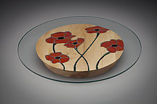 Poppy Centerpiece by Aaron Laux (Art Glass & Wood Platter)